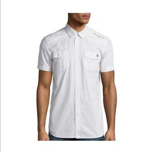 White Short Sleeved Button Front Shirt